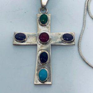 Vtg .925 Silver Multi-Stone Cross Pendant